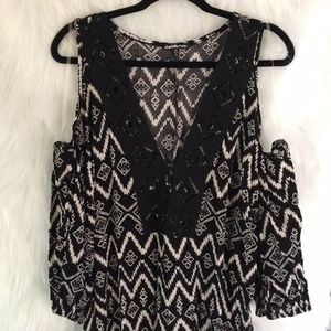 Charlotte Russe Open Shoulder Black & White Top 1X